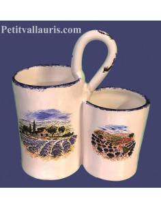 Ramasse-couverts deux compartiments en faience décor Paysage Provençal lavandes