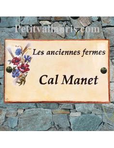 Plaque en céramique modèle rectangle motif bouquet chardons + blé + coquelicots + inscription personnalisée
