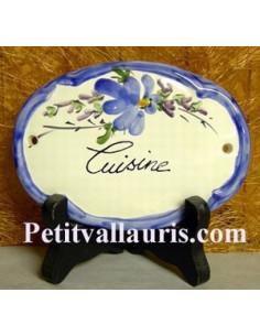 Plaque ovale Cuisine fleur bleue fin de série