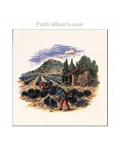 Carreau en faience blanche décor paysage provençal distillation des lavandes 15 x 15 cm