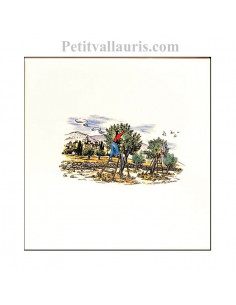 Carreau en faience blanche décor paysage provençal récolte des olives 10 x 10 cm