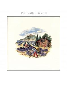 Carreau en faience blanche décor paysage provençal distillation des lavandes 10 x 10 cm