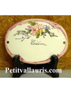 Plaque ovale Cuisine fleur rose fin de série
