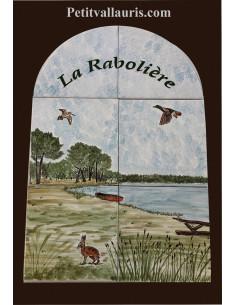 Fresque murale sur carreaux de faience décor artisanal modèle paysage de Sologne 60x40