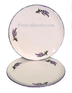 Assiette dessert ronde en faience de couleur blanche décor brins et bouquet de lavande