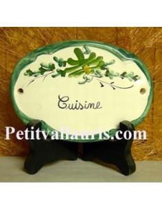 Plaque ovale Cuisine fleur vert fin de série