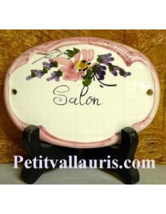 Plaque ovale Salon fleur rose fin de série