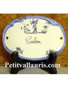 Plaque ovale Salon tradition vieux moustiers bleu Fin de série