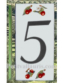 Numero de rue chiffre 5 décor cerises