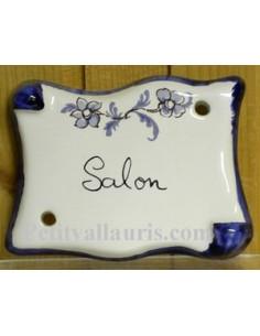 Plaque parchemin Salon tradition vieux moustiers bleue Fin de série