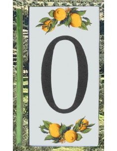 Numero de rue chiffre 0 décor Citrons