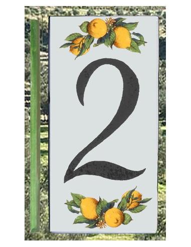 Numero de rue chiffre 2 décor Citrons