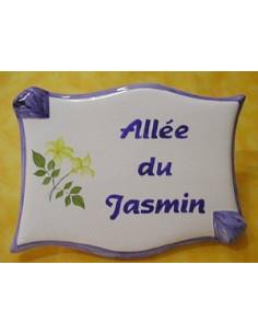 Plaque de forme parchemin décor personnalisé Jasmin