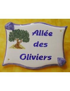 Plaque de forme parchemin décor personnalisé Les Oliviers