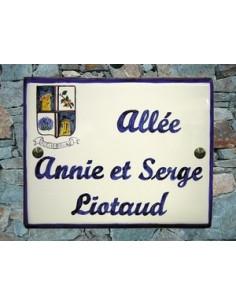 Plaque nominative rue de village avec écusson de votre commune