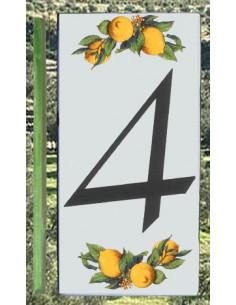 Numero de rue chiffre 4 décor Citrons