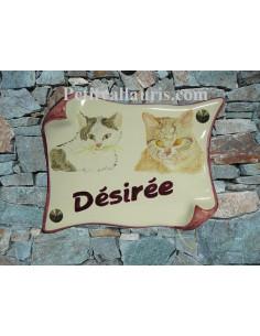 Plaque parchemin de maison décor couple de chats