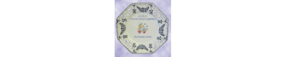 Assiette de baptême en céramique émaillée