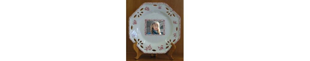 Assiette avec photo et texte personnalisée