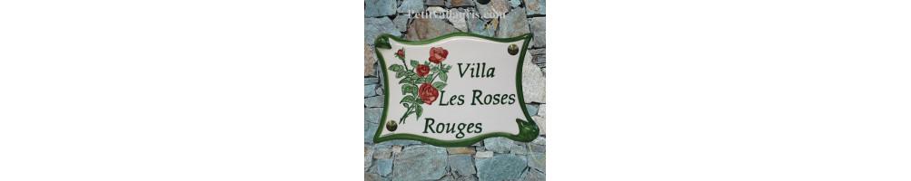 Parchemin motifs fleurs plaque grand modèle plaque céramique avec personnalisation taille 20x 28 cm