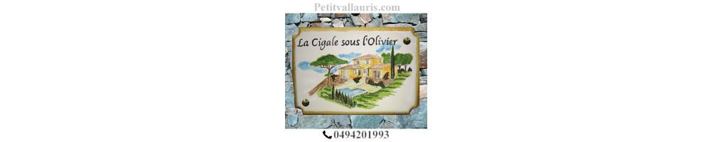 Motifs Provence Méditerannée taille 22 x 31 cm modèle style angles incurvés plaque céramique + gravure + décors personnalisés