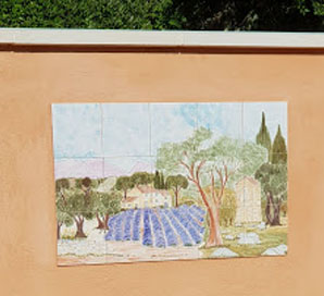 Fresque murale chene et champs de lavande de provence