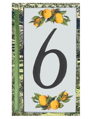 Numero de rue chiffre 6 décor Citrons