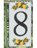 Numero de rue chiffre 8 décor Citrons