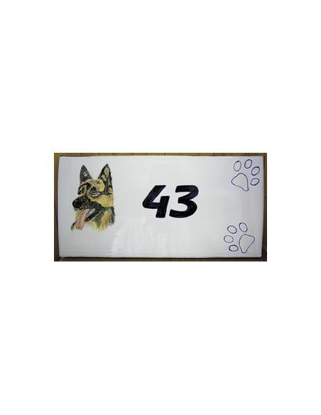 Grande plaque rectangulaire de maison en faience motif artisanal Berger Allemand + personnalisation