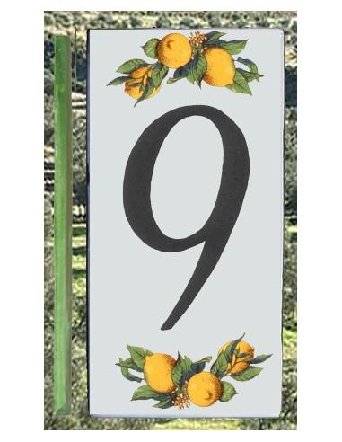 Numero de rue chiffre 9 décor Citrons