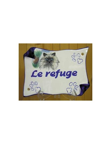 Plaque de maison en faience modèle parchemin motif chat persan + inscription personnalisée