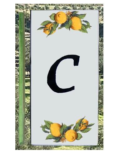 Numero de rue lettre C décor Citrons