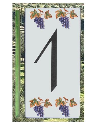 Numero de rue chiffre 1 décor grappe de raisin
