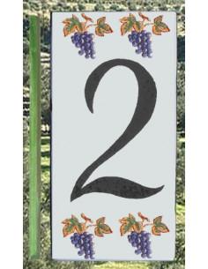 Numero de rue chiffre 2 décor grappe de raisin