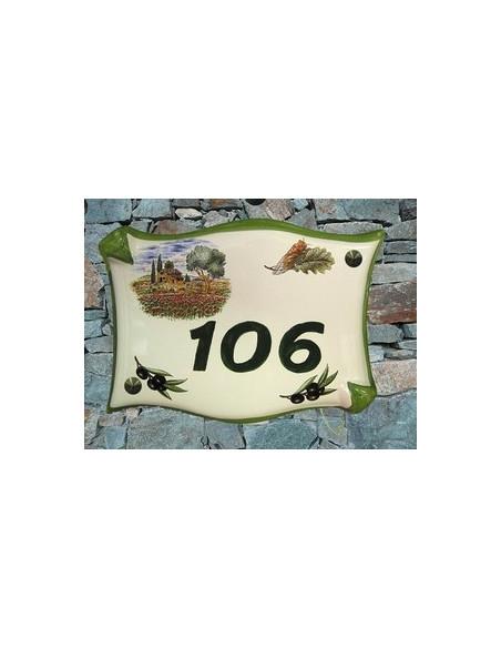 Plaque de maison en céramique modèle parchemin décor champs coquelicot + cigale + olives noires + personnalisation