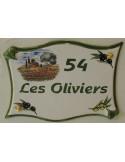 Plaque de maison parchemin en céramique décor cabanon et olivier