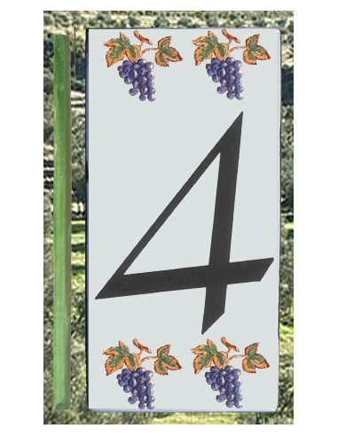 Numero de rue 4 décor grappe de raisin