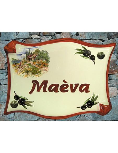 Plaque de maison modèle parchemin en céramique décor Provence cabanon avec personalisation couleur rouge pourpre