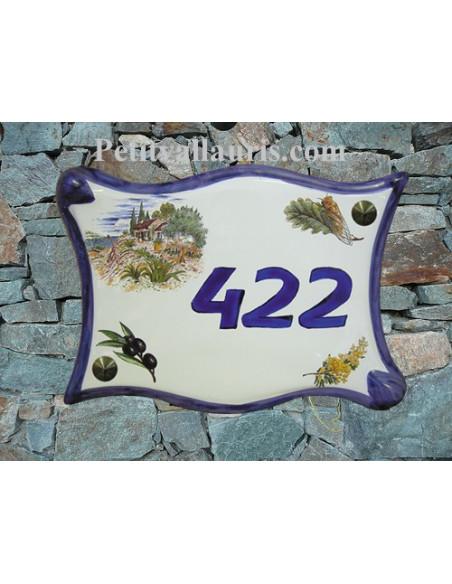 Plaque de maison parchemin en céramique Mas, Mimosas, Cigale et Olivier