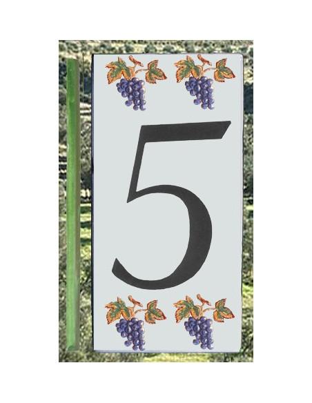 Numero de rue 5 décor grappe de raisin