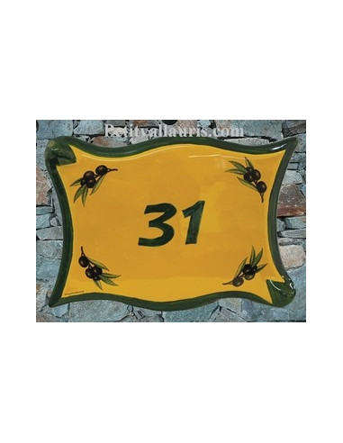 Plaque de maison parchemin en céramique Provençale décor Olive
