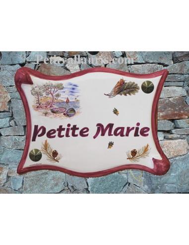 Plaque de maison parchemin en céramique Calanques coloris rose