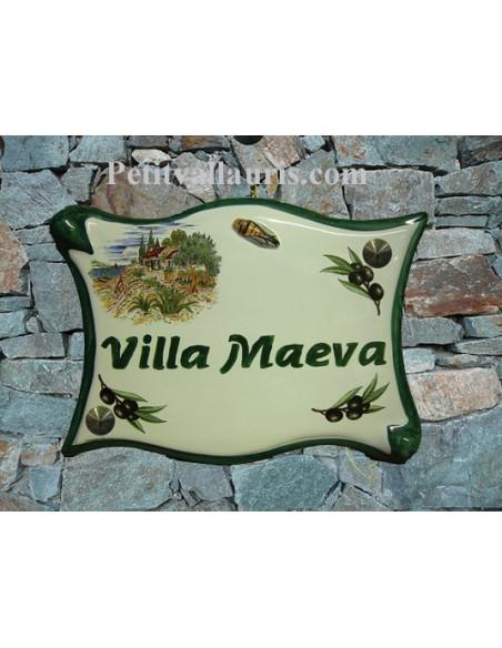 Plaque de maison modèle parchemin en céramique motif Cabanon + olives noires+cigale en relief personnalistion verte