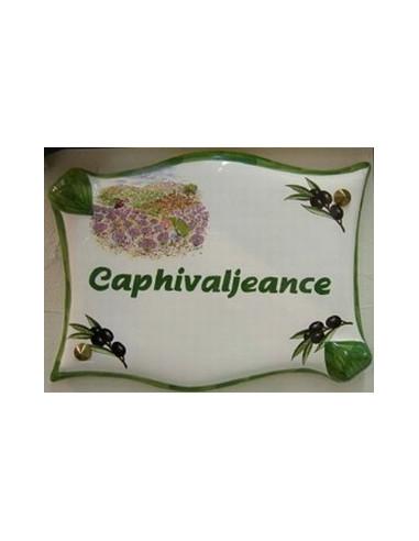 Plaque de villa parchemin décor cueillette d'olives et de lavande