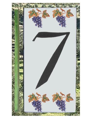 Numero de rue 7 décor grappe de raisin