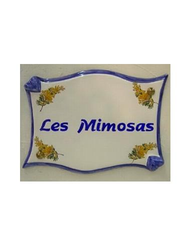 Plaque pour propriété parchemin en céramique Les Mimosas
