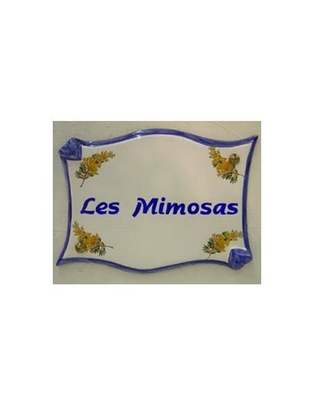 Plaque en céramique pour propriété modèle parchemin motif Mimosas + personnalisation bleue