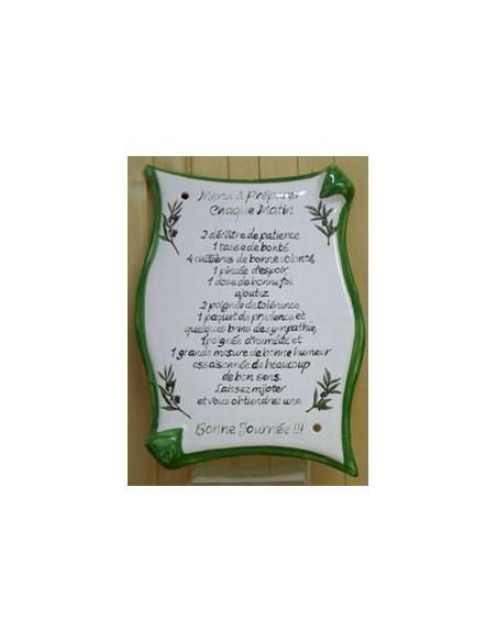 Plaque en céramique modèle parchemin avec menu personnalisé