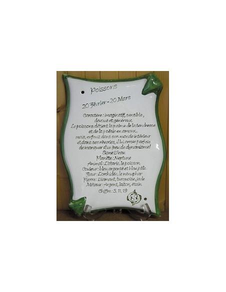 Plaque en céramique modèle parchemin avec Horoscope personnalisé
