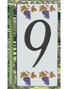 Numero de rue 9 décor grappe de raisin